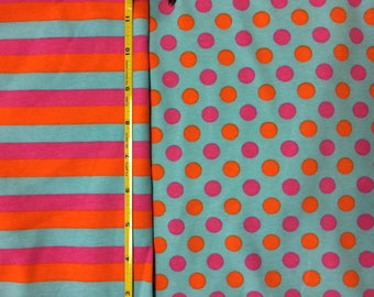 """Premium bright dots or stripes on cotton lycra 95/5 58"""" wide."""