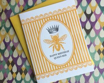 Queen Bee Birthday Letterpress Card