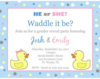 20 Personalized Waddle It Be Invitations  - Gender Reveal Party Invites
