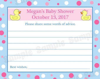 24 Personalized Baby Shower Advice Cards   - Pink and Blue Rubber Ducky