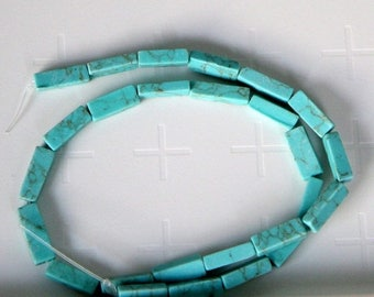 "75% OFF CLEARANCE SALE Imitation Square Tube Turquoise Beads, 13x4mm, 15"" strand"