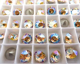 12 Light Topaz Shimmer Swarovski Crystal Chaton  Stone 1088 39ss 8mm