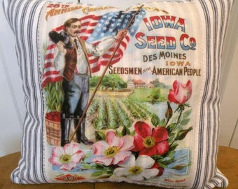Vintage Iowa Seed image Farmhouse Pillow Blue Ticking stripe Porch pillow Prairie Prim ECS RDT SVFteam, RDT, OFGteam, FVGteam