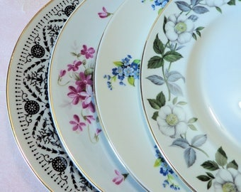 """Mismatched Plates 4 Salad 8.25"""" Fine China Dishes Sheffield Majestic Choice Floral Arabesque Violets Wild Rose Forget-Me-Not"""