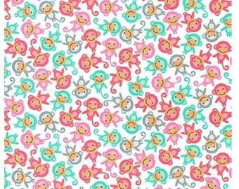 Urban Zoologie  Mini Pink Monkeys   Ann Kelle  Cotton Fabric Robert Kaufman Nursery  Baby  Quilting  Sewing Choose your cut  Monkey Fabric