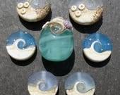 Lampwork Beads (7) Ocean Sea Beach Water Destash 30