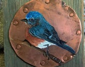 Bluebird on copper and wood
