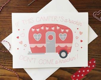 Camper Card. Vintage Camper Card. Love Card. Valentines Day Card. Anniversary Card. Vintage Caravan. Single Card. Blank Card. Sex Card