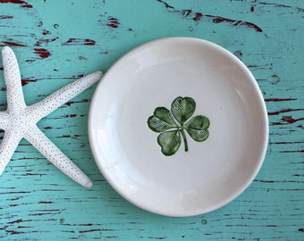 Shamrock on Small Round Dish, Green Clover on Ring Dish, Trinket Dish with Green Shamrock