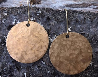 Hammered Brass Disc Earrings