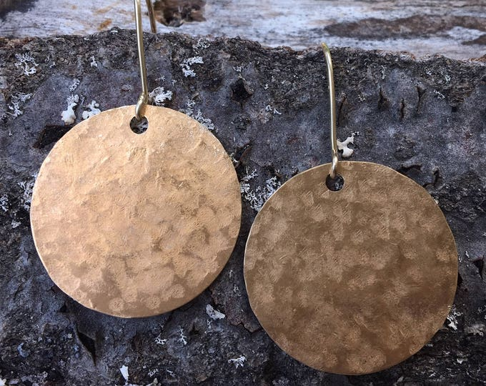 Featured listing image: Hammered Brass Disc Earrings
