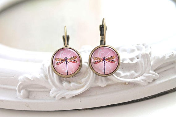 Pretty dragonfly  earrings sweet lolita feminine leverback pink