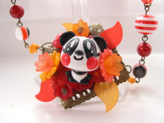 Cute Panda Necklace Kawaii choker Gothic Lolita red orange fall autumn