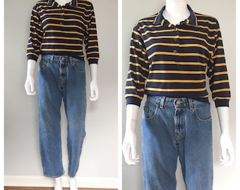 Vintage 80s Lands End Rugby top Distressed stripe shirt