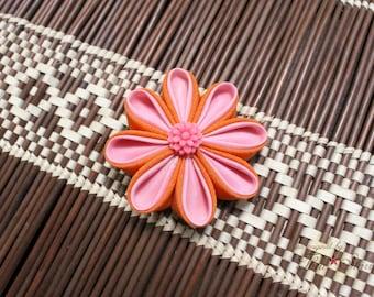 Orange and Pink | Kanzashi Flower Hair Clip