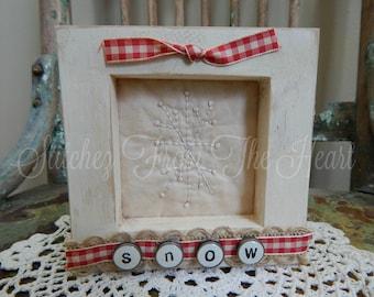 Snowflake Stitchery - Hand Stitched - Burlap - Gingham Ribbon - Red White
