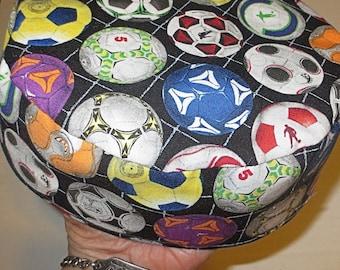 World Cup Soccer Bucharian many soccer balls kippah handmade yarmulke play sports great gift for him choice of all fabric band or stretchy