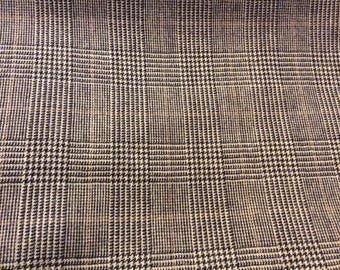 2 Yards of Vintage Taupe, Black & Brown Houndstooth Wool Blend Look Synthetic Fabric