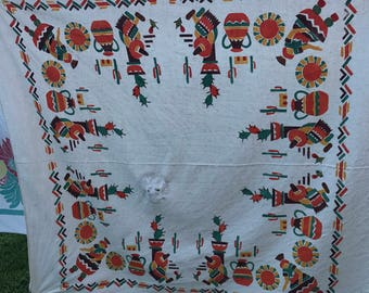 Vintage Bright Orange, Yellow & Brown Southwest Print Cutter Tablecloth