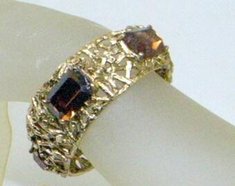 Vintage Brutalist Bracelet Watch - Fabulous - Set With Topaz Type Stones - Hinged - Clamper Cuff - Runs Fine