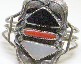 Vintage Navajo Bracelet - Coral,Jet,Mother of Pearl,Tall Sterling Cuff,Signed,Yazzie Cuff Bracelet,Squash Blossom,Old Navajo Cuff
