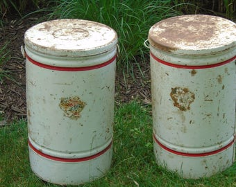 Large white metal tins with red stripes on top and bottom floral decal / primitive rusty farmhouse storage cans / decor / vintage metal tins