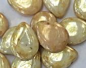 Czech Glass Pear Shaped Drop Beads 12mm x 16mm: 10 pieces UNSTRUNG - Opaque Ultra Luster Green Starman Glass Bead