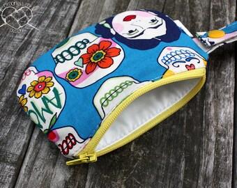 Waterproof Mouth Guard Case Roller Derby Frida Sugar Skull Zipper Closure Ready to Ship