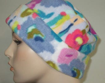 Fleece Pillbox Floral Print Anti Pill  Winter Hat, Cancer, Chemo Hat, Warm Hat