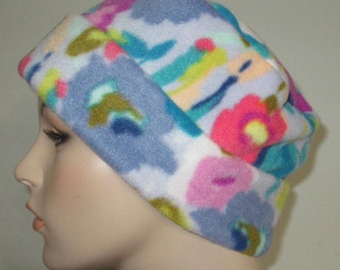 Featured listing image: Fleece Pillbox Floral Print Anti Pill  Winter Hat, Cancer, Chemo Hat, Warm Hat