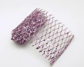 Lavender Netted Spangled Ribbon Wide