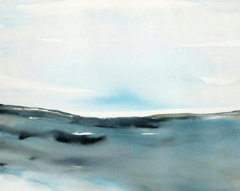 Original Watercolor Abstract Seascape Landscape painting, Large Contemporary  Watercolor, Modern landscape Watercolor blue abstract.