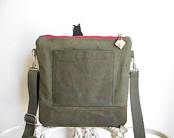 Red zipper, military canvas crossbody, iPad flat bag - eco vintage fabrics