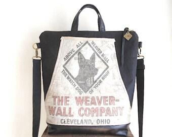 Canvas & leather, vtg lumber apron carryall, tote bag black - Weaver Wall Co. Cleveland Ohio - eco vintage fabrics