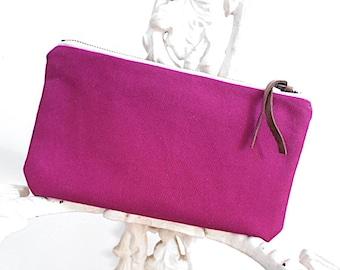 Berry bull denim utility pouch, mini clutch, iPhone case - eco vintage fabrics