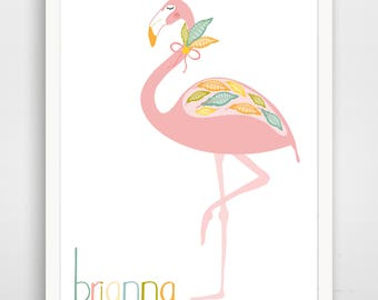 Sweet Feather Flamingo - Personalized - Floral Nursery Wall Art - Baby Wall Art