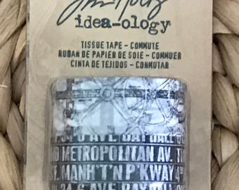 Commute Tissue Tape by Tim Holtz Idea-ology, 2 Rolls per Pack, 3/4 Inch x 16 Yards, Paper, TH93019 New in Package