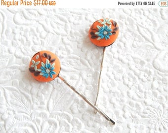 CLEARANCE - 2 orange blue brown hairpins,  polymer clay bobby-pins,  hair accessory, womens accessory