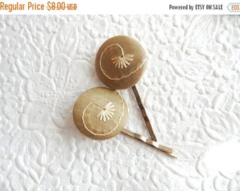 CLEARANCE - 2  dark gold  hairpins, embroidered hairpins, fabric hairpins, 1 1/8 inch hairpins, hair accessory, womens accessory