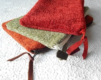 CLEARANCE - Upholstery pouch, red rust green chenille purse, zipper pouch, lined clutch, fashion accessory, womens accessory