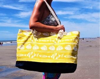 Sea Shell Beach Bag - Extra Large Bag - Fish Beach Bag - Waterproof Beach Bag - Seashell Bag - Rope Handle Tote