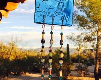 FLASH SALE Lizard Windchime Blue Glass