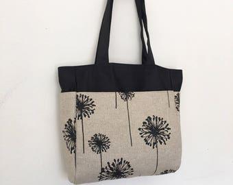 Everyday Tote with 4 exterior pockets - Dandelion Black Denton