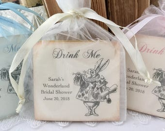 White Rabbit Favors, Alice in Wonderland Favors, Set of 10 Tea Bags Fully Assembled Bridal Shower Baby Shower Birthday Party