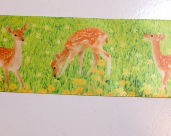 Wide Green Ribbon, Deer in a Meadow Single-Faced Satin Ribbon 2 1/4 inches wide x 10 yards, Deer Ribbon