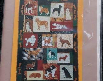 Family Dog Machine Applique Quilt Pattern