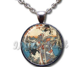 25% OFF - Japanese Geisha Women - Round Glass Dome Pendant or with Necklace by IMCreations - AP113
