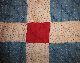 Antique Quilt Piece | Old Quilt Piece | Vintage Quilt Piece | Cutter Quilt Piece | Old Quilt Piece For Crafts 9 x 21