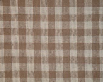Large Check Material   Homespun Material   Taupe Large Check Material    Cotton Material   Home Decor Material   Quilt Material   24 x 44