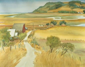 TORINI RANCH Watercolor Painting